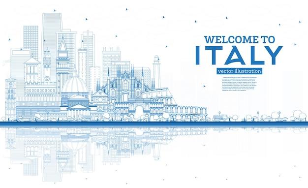 Overzicht welkom bij de skyline van de stad van italië met blauwe gebouwen en reflecties beroemde bezienswaardigheden