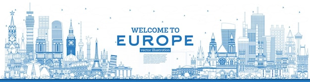 Overzicht welkom bij europa skyline met blauwe gebouwen.