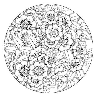 Overzichts rond bloemenpatroon in mehndi-stijl voor het kleuren van de doodle-ornament van de boekpagina in zwart-wit hand tekenen illustratie