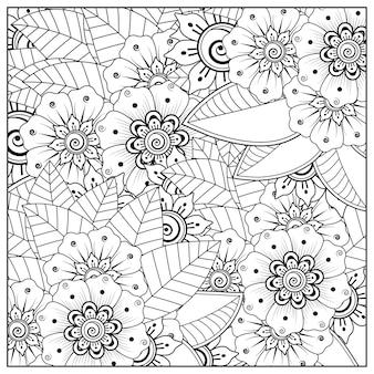 Overzichtsbloem in mehndi-stijl voor het kleuren van paginakrabbelornament in zwart-wit