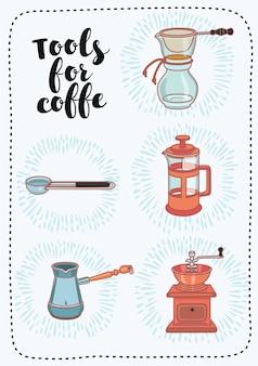 Overzichtsillustratie van braista-apparatuurhulpmiddelen voor het maken van koffiehandleiding