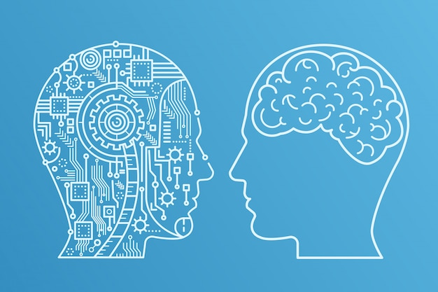 Overzichtsslag machinekop van cyborg en de menselijke met de hersenen. lijn stijl vectorillustratie.