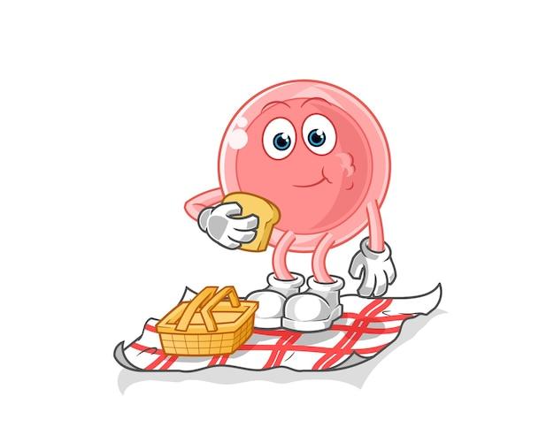 Ovum op een picknick cartoon