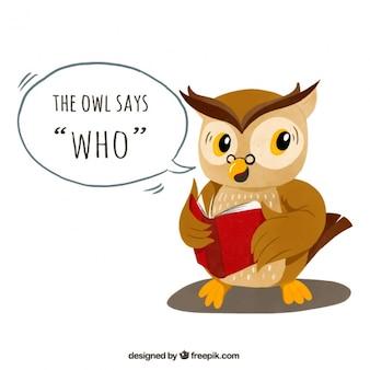 Owl achtergrond het lezen van een boek