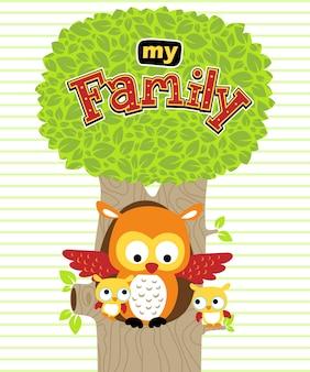 Owl familie cartoon op gestreepte achtergrond
