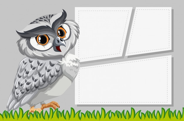 Owl op notitie sjabloon