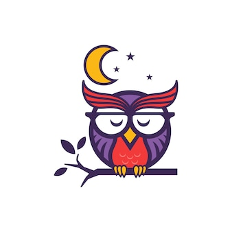 Owl sleeping vector design