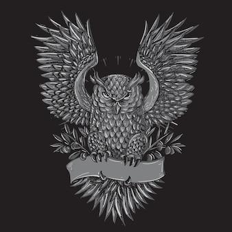 Owl tattoo grey illustration
