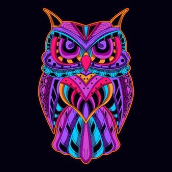 Owlin neonkleur Premium Vector