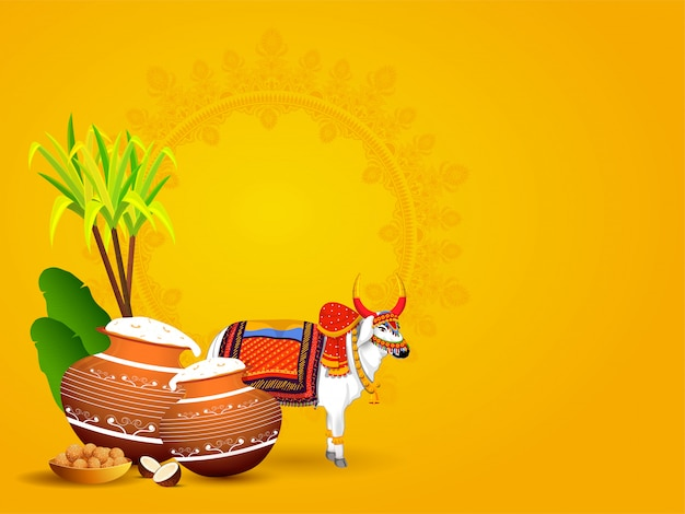 Ox-personage met modderpot vol pongalirijst, bananenbladeren, suikerriet en indiase zoete (laddu) op geel met copyspace
