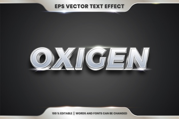 Oxigen woorden, teksteffect bewerkbare metalen zilveren kleur concept
