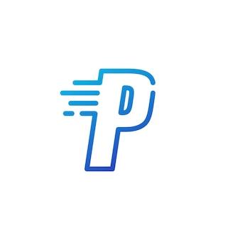 P brief dash snel snel digitaal teken lijn overzicht logo vector pictogram illustratie