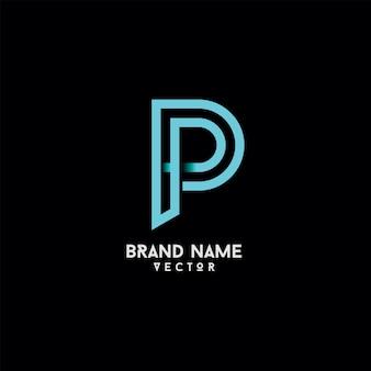 P brief typografie logo ontwerp vector