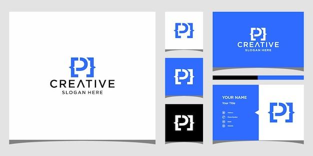 P-code logo-ontwerp met sjabloon voor visitekaartjes
