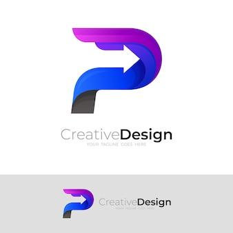 P-logo en pijlontwerpcombinatie, kleurrijke logo's