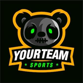 P panda mascotte gaming-logo