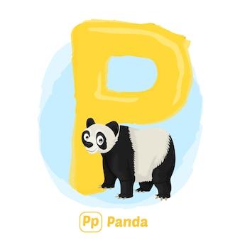 P voor panda. premium illustratie tekenstijl van alfabet dier voor onderwijs