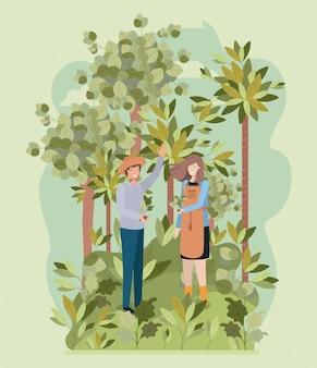 Paar aanplant boom in het park