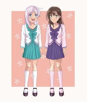Paar anime-studentenvrouwen