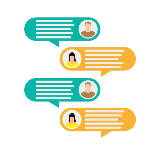 Paar avatar pictogrammen met dialoogvenster tekstballonnen