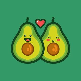 Paar avocado karakter logo met liefde
