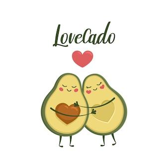 Paar avocado-liefhebbers knuffelen. leuke kawaii met ogen en een hart. belettering lovecado. vectorillustratie eps10.