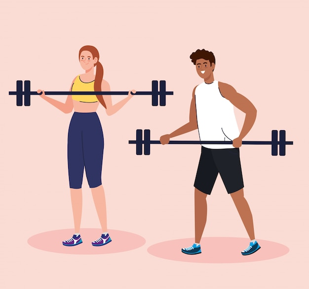 Paar beoefenen van oefening buiten, sport oefening concept
