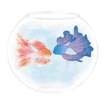 Paar betta fish in a bowl tank cute illustration