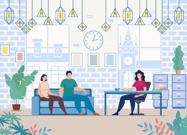 Paar bezoekende psycholoog flat