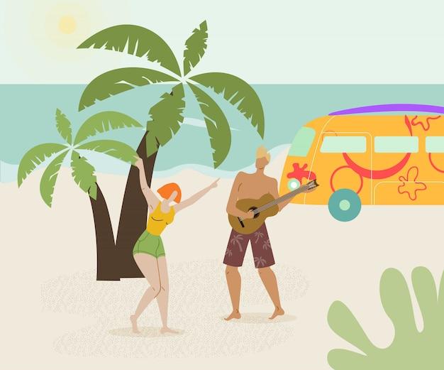 Paar bij de vlakke vectorillustratie van de strandpartij