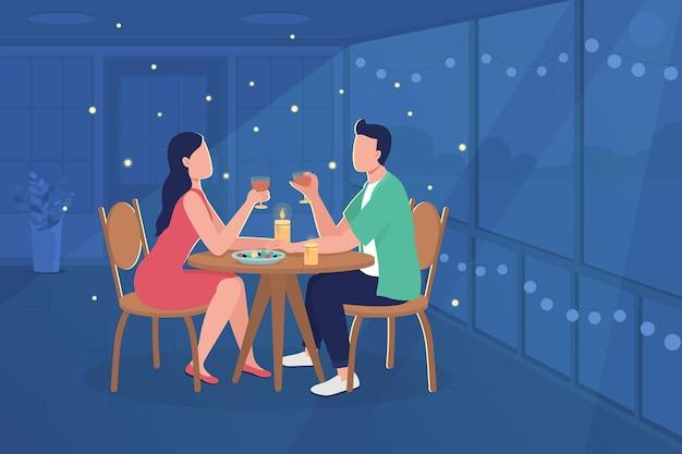 Paar bij restaurant egale kleur illustratie