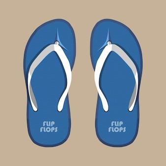 Paar blauwe zomer slippers rubberen schoenen
