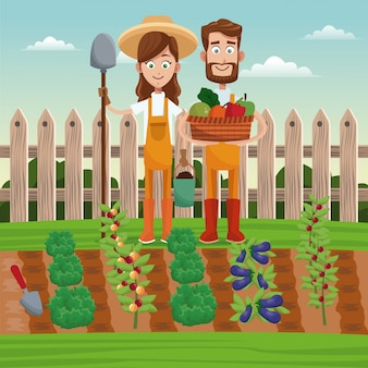 Paar boeren plantaardige mand veld hek