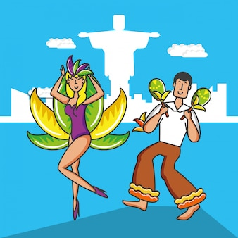 Paar braziliaanse dansers karakters