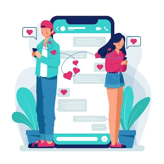 Paar chatten op dating-app. .