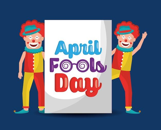Paar clowns vrolijke gelukkig komische april dwazen dag