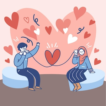 Paar communiceren met elkaar via blikje telefoon illustratie