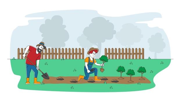 Paar cottager-personages werken in de tuin