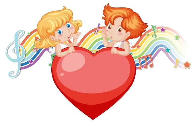 Paar cupido-engelkarakter met melodiesymbolen op regenboog