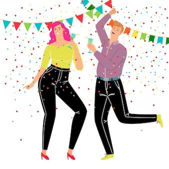 Paar dansfeest. cartoon gelukkige personen vieren in trendy zakelijke kostuums, concept van feesten en rust, vectorillustratie van tekens drinken en dansen in confetti