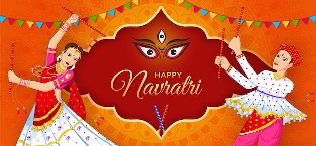 Paar dat dandiya speelt bij navratri happy durga puja navratri en dussehra banner