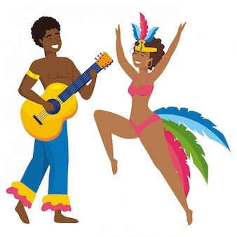Paar dat de vectorillustratie van brazilië canival viert