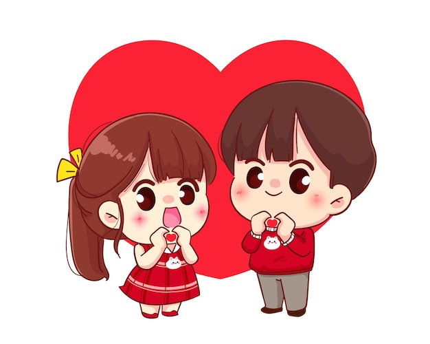 Paar dat een hart met handen, gelukkige valentijnskaart, de illustratie van het beeldverhaalkarakter maakt