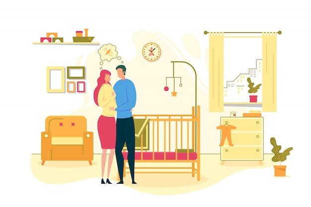 Paar dat op de illustratie van de babygeboorte wacht
