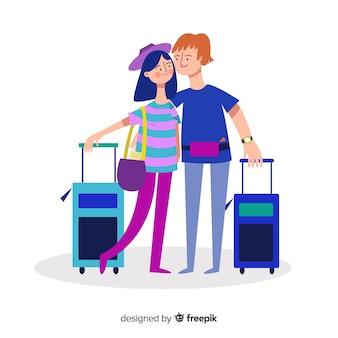 Paar dat op een reis gaat