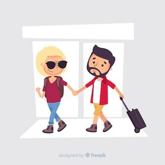 Paar dat op een reisachtergrond gaat