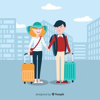 Paar dat samen achtergrond reist