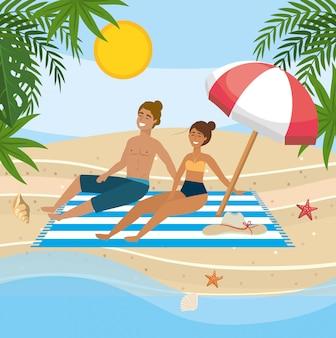 Paar dat zon in het strand neemt