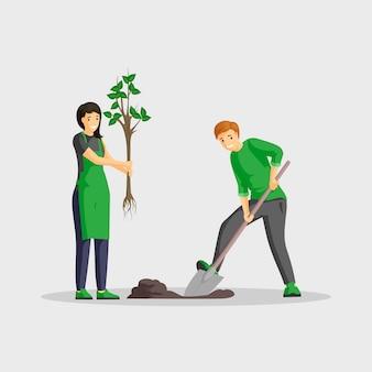 Paar die boom vlakke kleurenillustratie planten. mensen tuinieren geïsoleerde stripfiguren, vrijwilligers buitenshuis werken samen, groener planeet. het graven van de man en het jonge boompje van de vrouwenholding