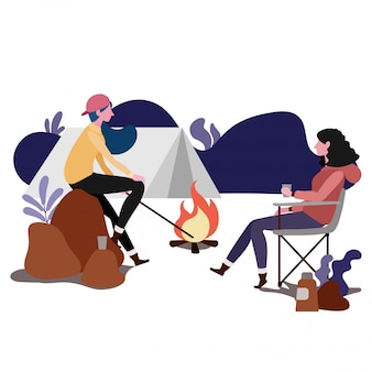 Paar die samen, illustratieontwerp kamperen